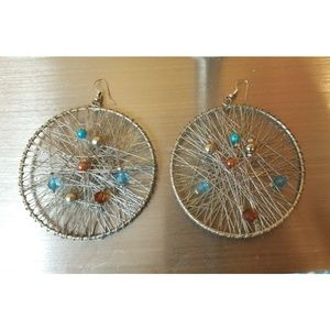 Hoop with embellishments earrings